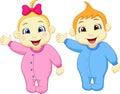 Baby boy and girl cartoon waving hand Royalty Free Stock Photo