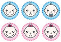 Baby boy and girl icons set Royalty Free Stock Image