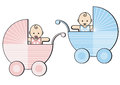 Baby boy and girl in prams Stock Photo