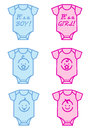 Baby boy and girl vector cute shower with pink blue bodysuit design elements Royalty Free Stock Image