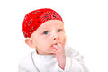 Baby boy in headscarf isolated on the white background Stock Photography