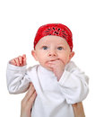 Baby boy in headscarf isolated on the white background Stock Photo