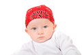 Baby boy in headscarf portrait isolated on the white background Royalty Free Stock Photo
