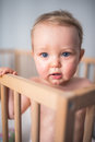 Baby boy in his crib Royalty Free Stock Photo