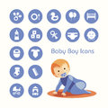 Baby boy and icons set