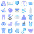Baby boy icons set. Vector illustration.