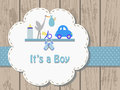 Baby boy invitation card vector illustration of birth concept Royalty Free Stock Photography