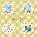 Baby boy items set Royalty Free Stock Photos