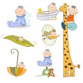 Baby boy items set in vector format Stock Photo