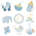 Baby boy items set in vector format Stock Image
