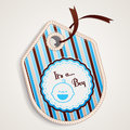 Baby boy label about its a patchwork style Stock Photos