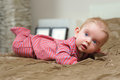 Baby boy lying on belly Royalty Free Stock Photo