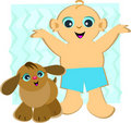 Baby Boy and Pet Puppy Stock Photos