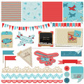 Baby boy plane elements scrapbook design in Royalty Free Stock Photos