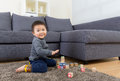 Baby boy play toy block Stock Image