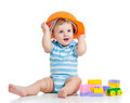 Baby boy playing with building blocks toy Stock Photography
