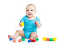 Baby boy playing toy blocks Royalty Free Stock Photo