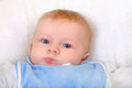 Baby boy portrait on the white blanket closeup Stock Photo