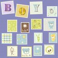 Baby boy postage cute set Stock Images