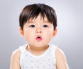 Baby boy pout lip with gray bcakground Stock Photo