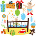 Baby Boy retro birthday party Royalty Free Stock Image