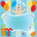 Baby boy's birthday invitation Stock Photography