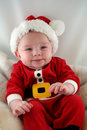 Baby Boy in Santa Claus Outfit Stock Images