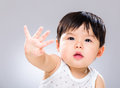 Baby boy say no with gray background Royalty Free Stock Photo