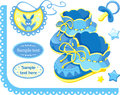 Baby boy set of elements for newborn congratulation Royalty Free Stock Image