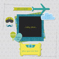 Baby boy shower or arrival card air plane theme in Royalty Free Stock Images
