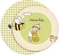 Baby boy shower card with bee Royalty Free Stock Photos
