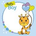 Baby boy shower card. Cute giraffe with balloons