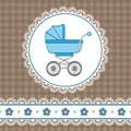Baby boy shower with carriage and flowers Stock Photos