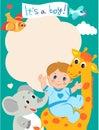 Baby boy shower invitation card with funny giraffe, elephant.