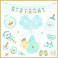 Baby boy shower set of design elements.