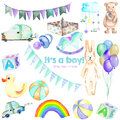 Baby boy shower watercolor elements set toys, cars, air balloons, rainbow, nipple, flags and other