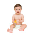 Baby boy sitting with duck and smiling little is isolated on white background Stock Photo