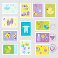 Baby Boy Stamps Design Elements Royalty Free Stock Photo