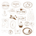 Baby boy stamps set of for scrapbooking Stock Photography