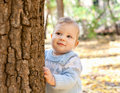 Baby boy standing near tree in autumn park Royalty Free Stock Photos
