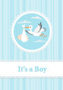 Baby Boy and stork Royalty Free Stock Image
