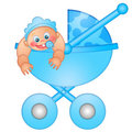 Baby Boy in Stroller Illustration Royalty Free Stock Photos