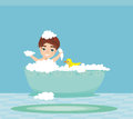 Baby boy taking bath Royalty Free Stock Photo
