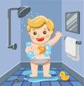 A baby boy taking a shower in bathroom.