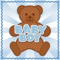 Baby boy teddy bear polka dot block letters pastel blue background rick rack border frame for albums scrapbooks announcements Stock Photo