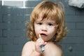 Baby boy with teeth brush Royalty Free Stock Photo