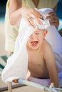 Baby Boy and Towel Royalty Free Stock Images