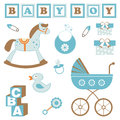 Baby boy toys cute set of related items Royalty Free Stock Image