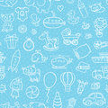 Baby boy toys pattern vector outline seamless for with Stock Photo