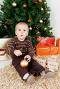 Baby boy waiting santa klaus at christmas Royalty Free Stock Photos